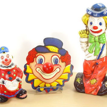 Mid Century Circus Clown Collection - Chalkware Banks & Upcycle Clown Handle Pull - Hand Painted - (Set of 3)