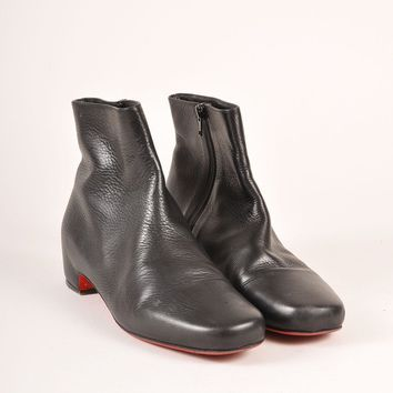 HCXX Black Leather Low Heel Ankle Boots