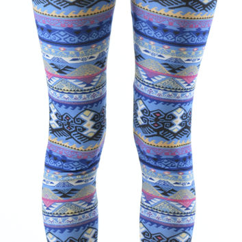 Plus Size Tribal Weave Winter Ankle Leggings