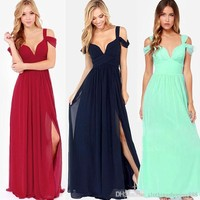Elegant Women's Bridesmaid Dresses A Line Off-Shoulder Chiffon Full Length Wedding Party Maid Honor of the dress