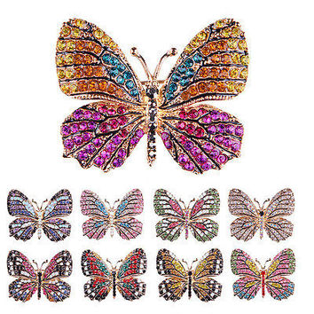 Rhinestone Butterfly Brooch Pin Gold Women Dress Wedding Bridal Brooch Pin HU