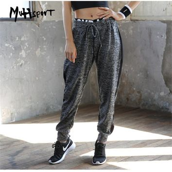 Women Elastic Waist Running Jogging Pants Breathable Training Trousers Female Autumn Loose Exercise Sports Pants Yoga Trousers