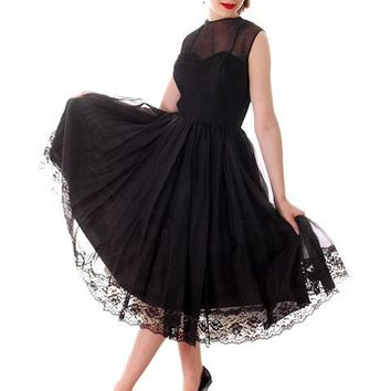 Vintage Dance Time by Phyllis Dress Black Sheer Full Skirt 1950s 31-24-FREE Small