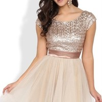 Short Homecoming Dress with Sequin Cap Sleeve Bodice and Full Tulle Skirt