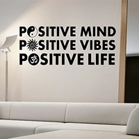 Positive Mind Wall Decal Vinyl Art Home Decor Om Ying Yang Sun Namaste Good Vibes