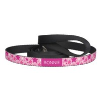 Pattern Of Pink Stars And Any Pet's Name Dog Leash