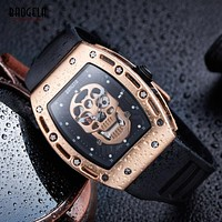 Fashion Watch Pirate Skull Hollow Style Quartz men Watches Military Silicone Sports Watch Skeleton Clock