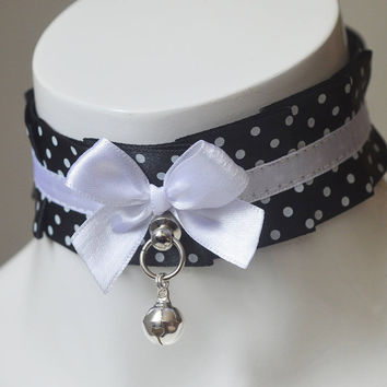 Pet play collar - Dark dot - black and white choker with polka dot  - dark lolita collar - ddlg tugproof halloween neko costume necklace