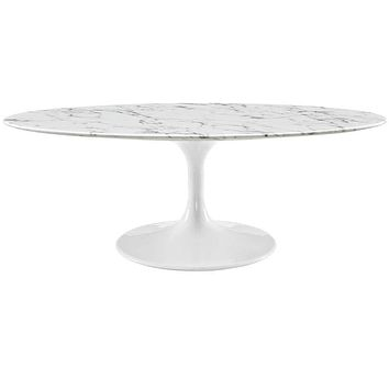 "White Lippa 48"" Oval-Shaped Artificial Marble Coffee Table"