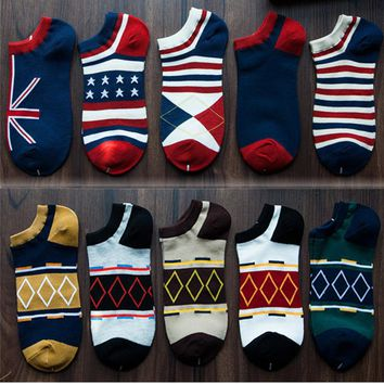 5 Pairs/lot Classic Cotton Invisible Men Socks Boat Colorful Prismatic Pattern Casual Spring Summer Ankle Male Socks Type 2018