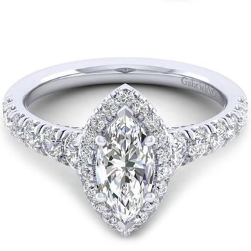 "Gabriel ""Hazel"" Marquise Halo Diamond Pave Engagement Ring"