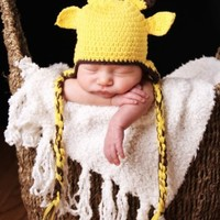 Melondipity Boy or Girl Yellow Giraffe Crochet Baby Hat - Animal Beanie