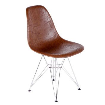 Vincent Brown Mid-Century Modern Leather Dining Chair
