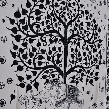 Tree of Life Tapestry, Elephant Wall Hanging, Large Wall Art, Dorm Decor Bohemian Tapestry, Indian Cotton Bedspread, Picnic Blankets
