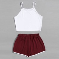 Summer Twopiece Set Crop Top With Contrast Trim Shorts Striped Multicolor Twopiece  For Women