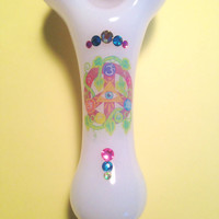 Summer Haze- Solid White Glass Pipe with Pink Honeycomb Top, Authentic Swarovski Crystals, and Peace Sign Design.