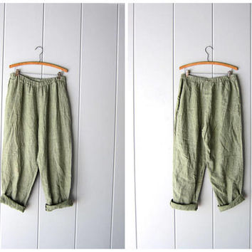Minimal FLAX brand Trousers Natural LINEN Pants Sage Green Loose Fit Pants Elastic Waist Trousers with Pockets Womens Medium Large