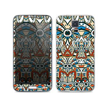 The Decorative Blue & Red Aztec Pattern Skin For the Samsung Galaxy S5