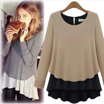 Women Boho O-Neck Long Sleeve Tee Ladies Loose Peplum Tops T Shirts Tunic Blouse