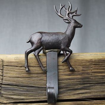 Deer Christmas Stocking Hanger,Holder-Forged Iron-Weighs 2 1/2 lbs.