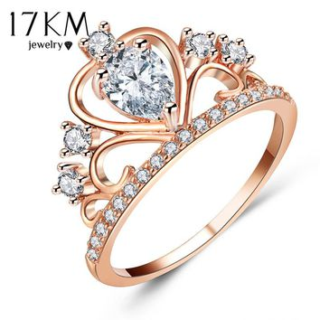 17KM Fashion Lover Oval Crystal Hollow Crown Rings For Women Rose Gold Color Cubic Zirconia Ring Female Party Wedding Jewelry