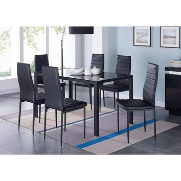 Modern 7-Piece Dining Set with Glass Top Table