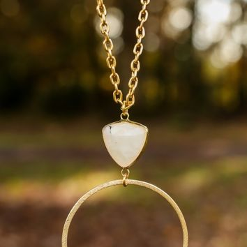 Hoop There It Is Necklace-White