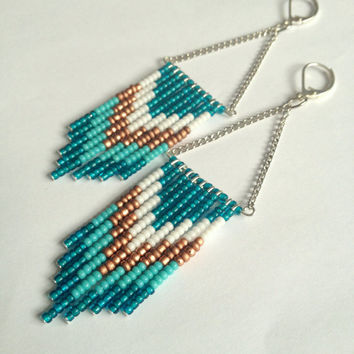 Bronze Teal and Turquoise Fringe Earrings