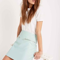 Pippa Lynn Faux Leather Zip Skirt in Mint - Urban Outfitters