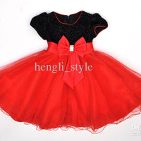 New Summer Girls' Baby Lace Dress Sequins Bowknot Children's Princess Dress Kids' Party Dress Large