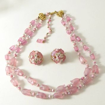 Vintage Hobe Pink Tulips Beaded Necklace and Clip Earrings