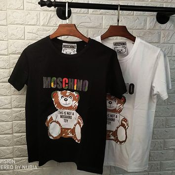 MOSCHINO 2020 New Color Letter Graffiti Bear Print Round Neck Half Sleeve Shirt