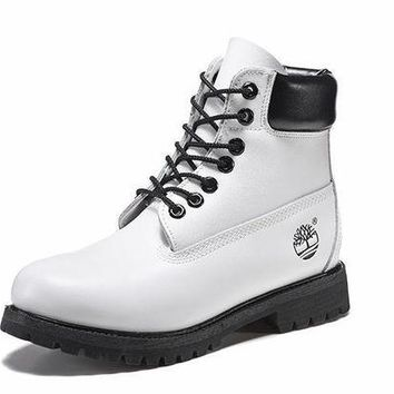 DCK7YE Best Deal Online Timberland 10061 Leather Lace-Up Boot Men Women Shoes Black White