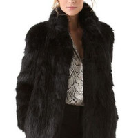 Black Fluffy Modern Fur Coat