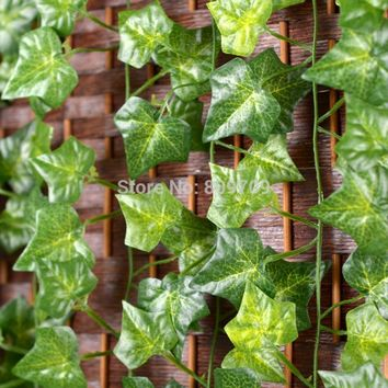 12pcs Artificial Silk Sweet Potato Green Leaves Vine Ivy Rattan Cane Wall Hang Garland Plant Wedding Home Party Decoration