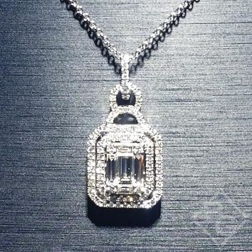 Simon G. Rectangular Diamond Mosaic Pendant