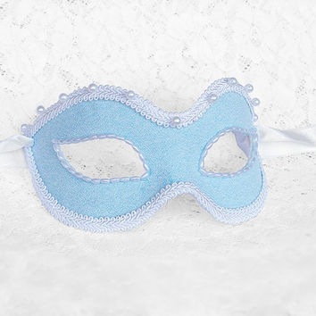 Blue And White Masquerade Mask With Faux Pearls - Venetian Style New Year's Masquerade Ball Mask