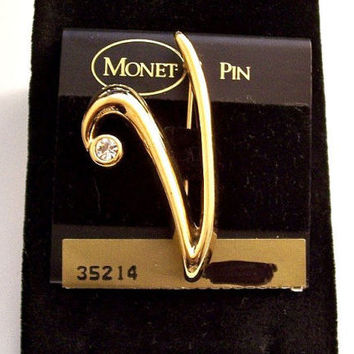 Monet Crystal Letter V Pin Brooch Gold Tone Plated Vintage Swirl Wide Band Round Clear Faceted Bezel Set Stone