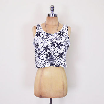 Vintage 90s Black & White Daisy Print Floral Print Crop Top Tank Top T-Shirt Tshirt 90s Top 90s Grunge Top 90s Club Kid Top Women S Small