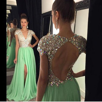 Mint Green High Slit Long Prom Dresses A Line V Neck Cap Sleeve with Sequined Crystal Custom Made luxus abendkleider