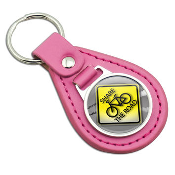 Share The Road Bicycle Stylized Yellow Grey Sign Pink Leather Keychain