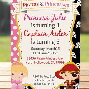 Pirate and Princess Invitation / Princess and Pirate Birthday Party Invitation
