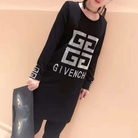 """Givenchy"" Large Size Women Simple Fashion Diamond Letter Pattern Bodycon Long Sleeve Middle Long Section T-shirt Mini Dress"