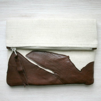Fold over leather and canvas clutch brown autumn Ready To Ship Black Friday Cyber Monday Sale