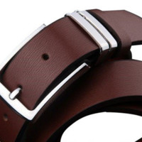 Elegant Brown Belt with Silver Buckle
