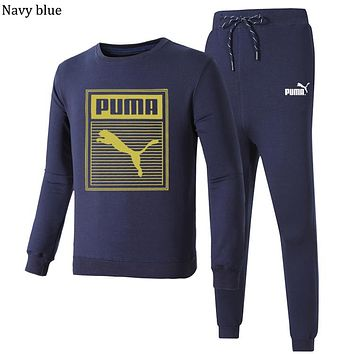 PUMA 2018 autumn and winter new long-sleeved pullover sweater beam foot sweatpants two-piece Navy blue