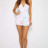 Only You Playsuit - Pastel Floral Print Layered Peplum Playsuit
