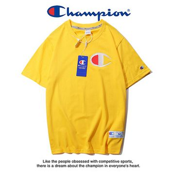 Champion Summer New Fashion Bust Embroidery Logo Leisure Women Men Top T-Shirt Yellow