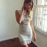 Sexy Backless Hollow Out Sleeveless Embroidered Lace Dress
