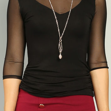 Mesh Paneled V-Neck Ruched Top W/ Necklace